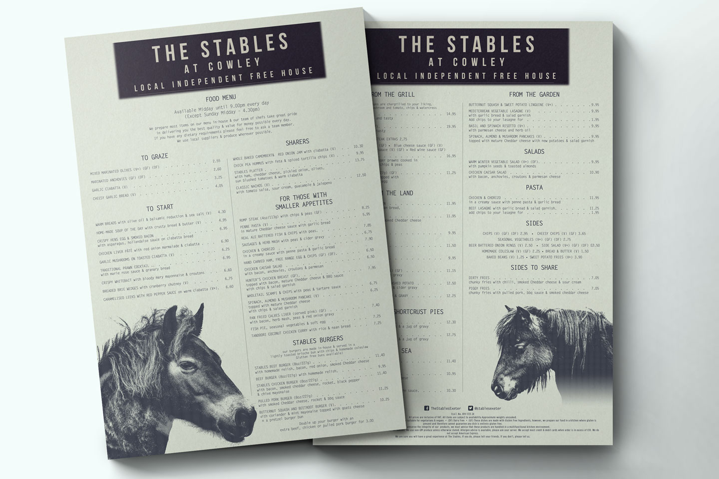Evolve Promotion - The Stables Menu Design